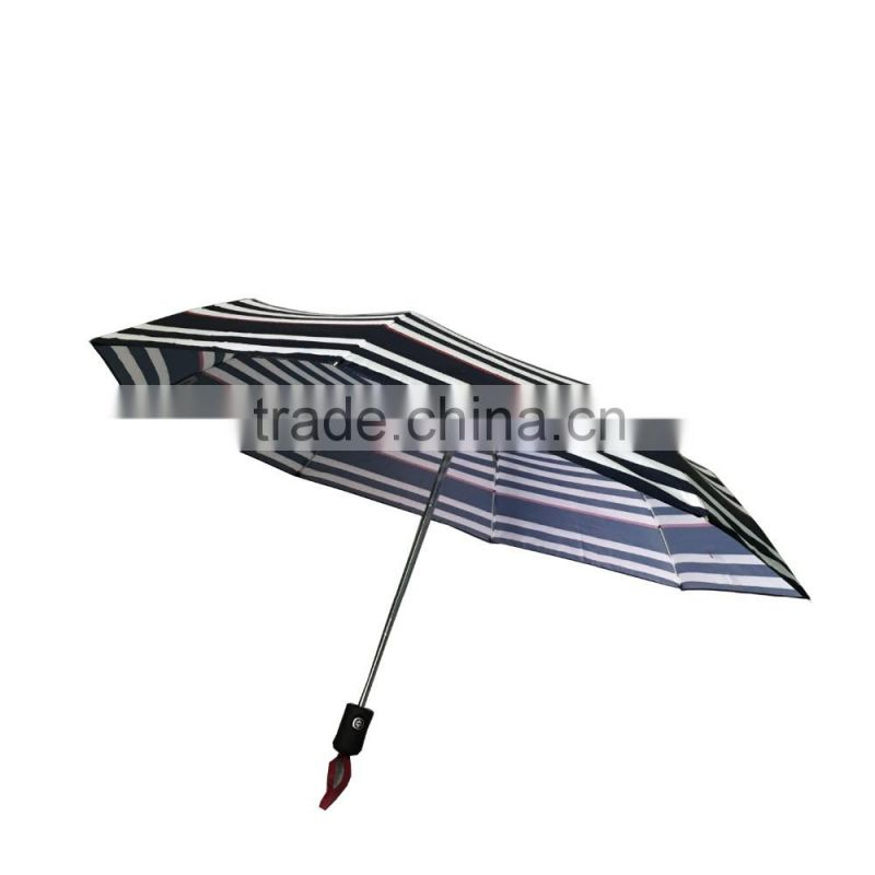 100% polyester pongee stripe deisng waterproof 3 folds automatic open & clse umbrella