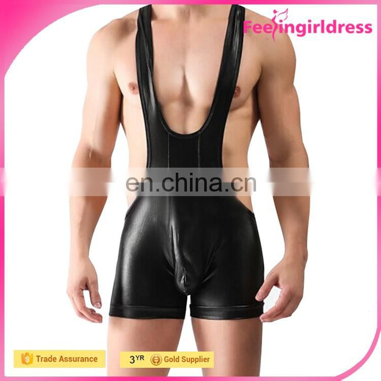 Sample Free Sexy Men's Sleeveless Black Faux Leather Bodysuit In Stock
