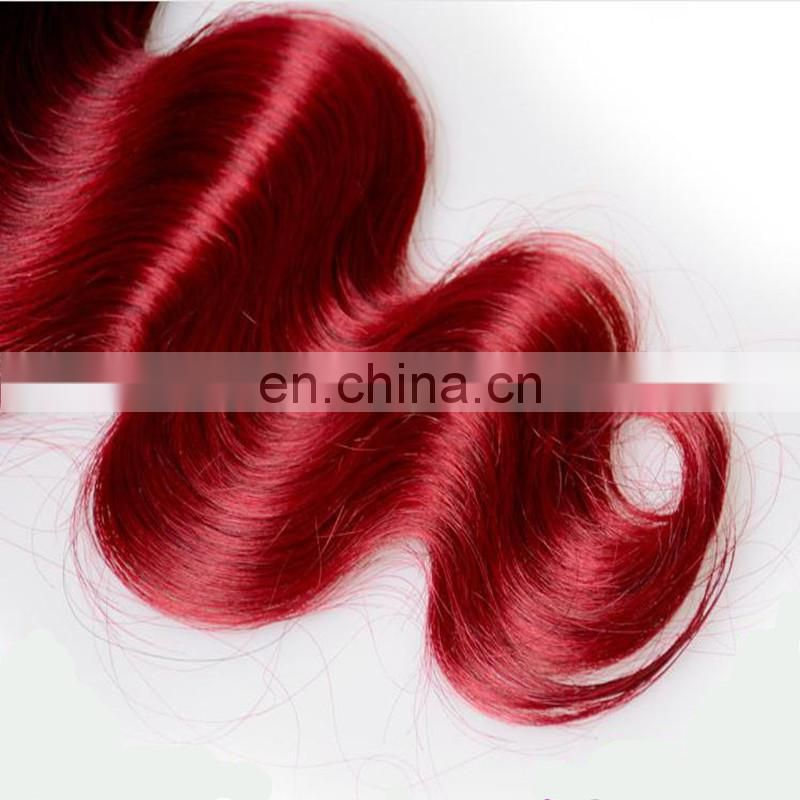Wholesale 100% human hair extension hot sale ombre color T1b/red# virgin indian hair bundles