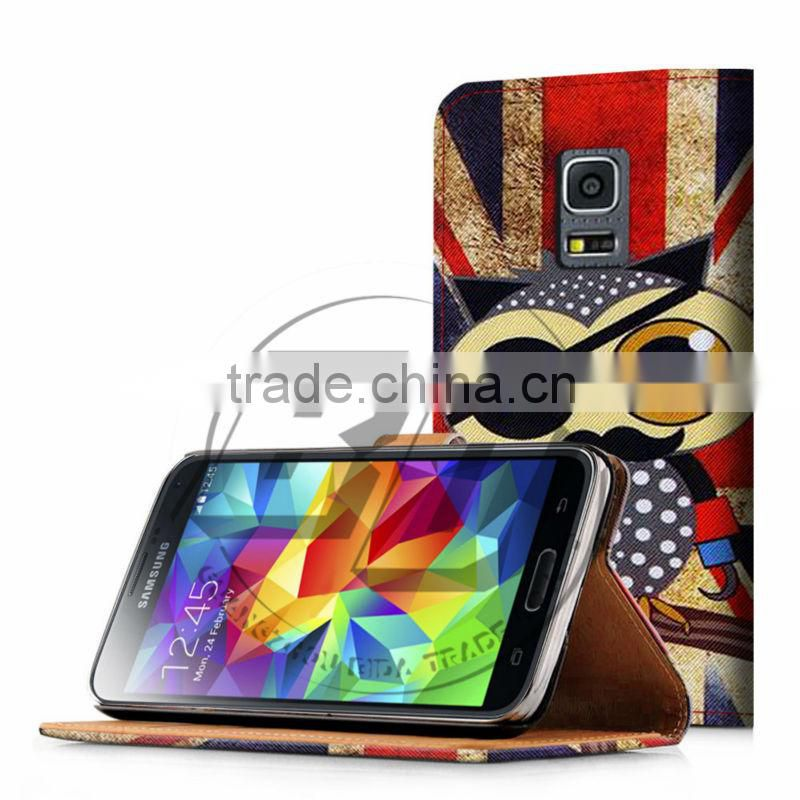 For Samsung Galaxy S5 I9600 Case Print Card Holder Flip PU Folio Wallet Book Style Leather Case Cover Mobile Phone Csaes