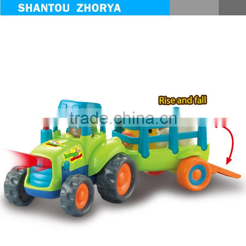 Funny Friction Inertia farmer car Utility Vehicle (UTV) Carrying animal cow & sheep truck toys with music & light for kids