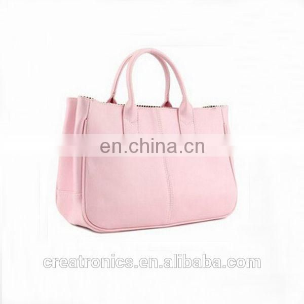 CR new business ideas europe most popular items simple style ladies leather handbag pink color pu tote bag custom