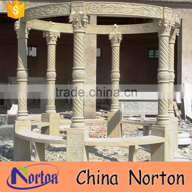 Norton factory design six pillars marble gazebo garden NTGM-020Y