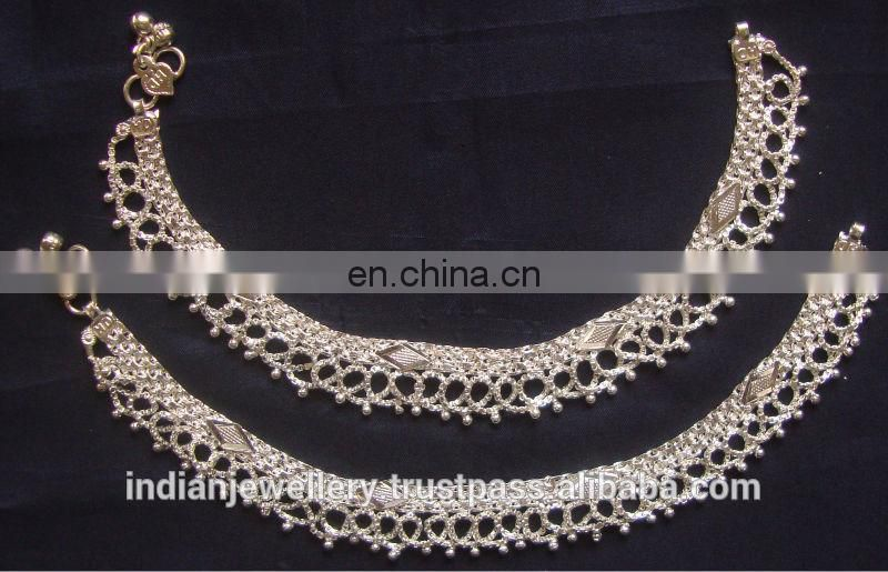 fashion jewelry rhodium plated anklets manufacturer, gold plated jewellery ankle bracelets exporter