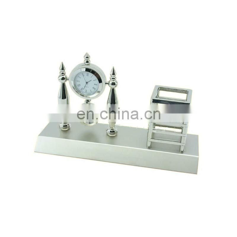 Custom high quality silver metal pen holder with watch wholesale