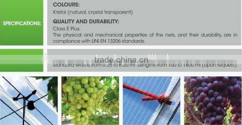 new HDPE material with UV additive for agricultural table grape vinyard anti hail net usage in the rain season