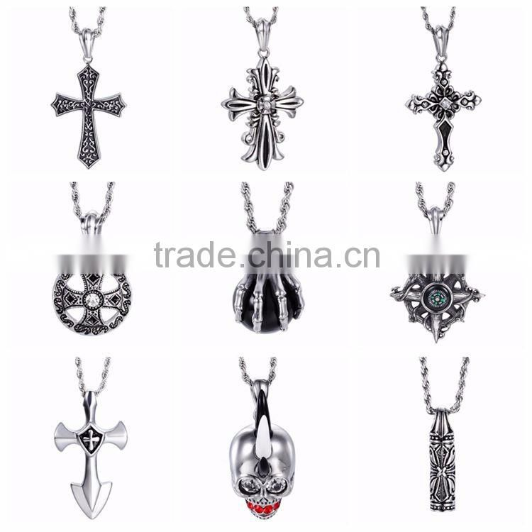Men Cool Skull Design Stainless Steel Pendant Antique Silver Long Chain Skull Pendant Necklace