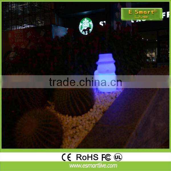 Blinking light with artistic christmas snowman, Snowing Christmas Snowman Family with umbrella base with LED lights and tree