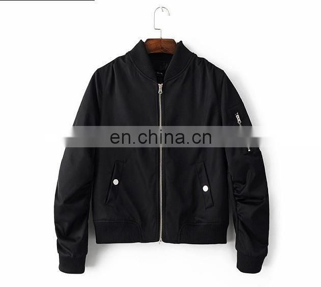 New design Women's Bomer Jacket Nylon Jacket flight Jacket with zipper and Pocket