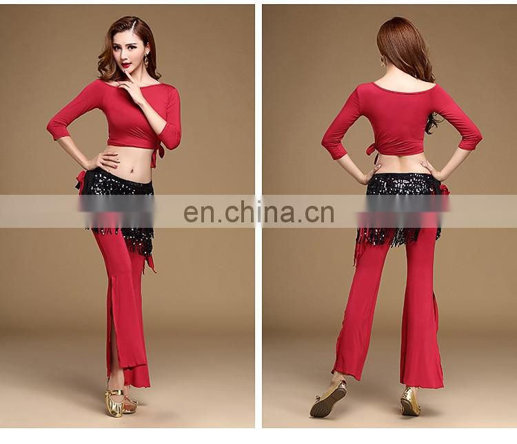 T-5136 Comfortable modal practice lady belly dance top and pant set