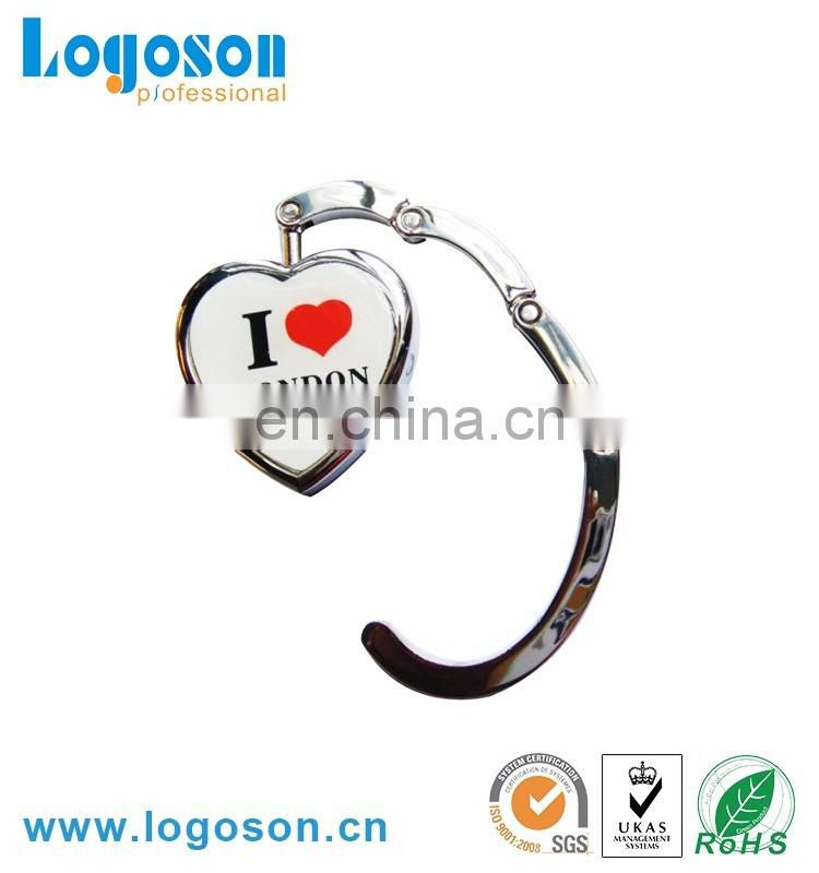 Foldable handmade heart shape metal bag hanger