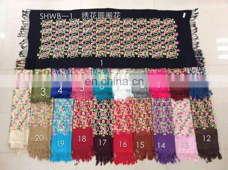 2017 new fashion acrylic embroidery shawl design cashmere imitation embroidery scarf