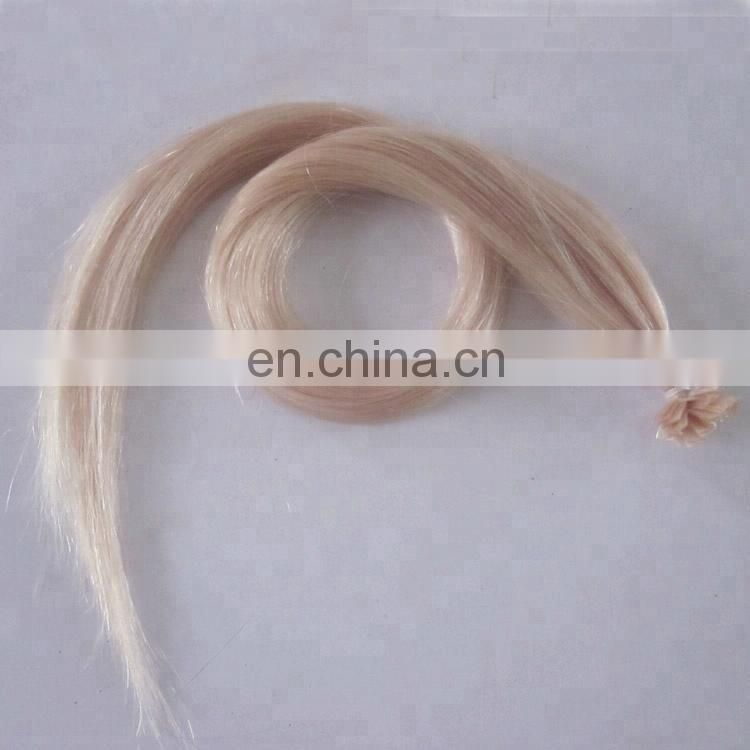 natural silky human hair flat tip extensions blonde tip in extension