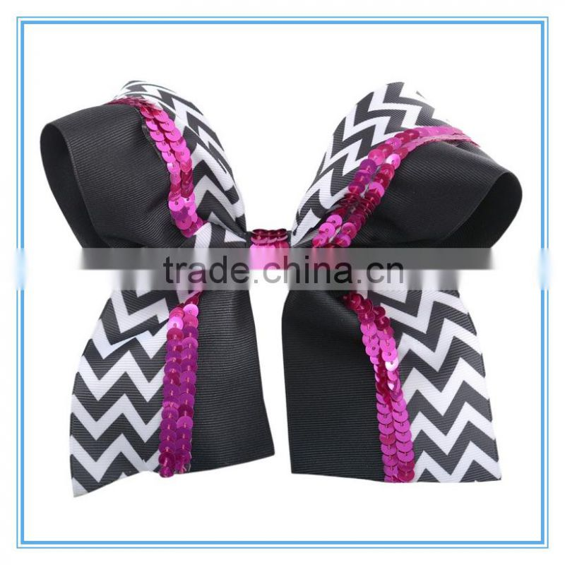 New bulk 6inch sequin chevron hair bow, Baby Girls' hair accessory with barrette large boutique chevron hair bow for girl