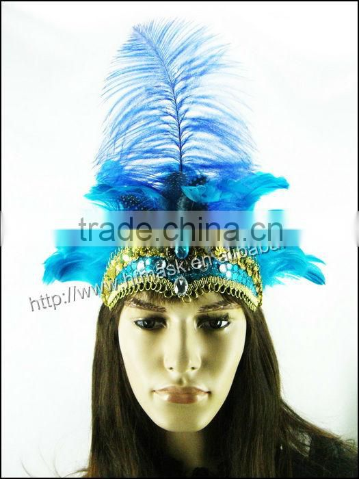 handmade wholesale blue natural ostrich feather headdress indian