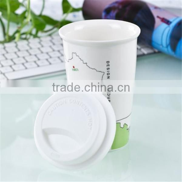 Ceramic double wall coffee cup with silicone cup lid