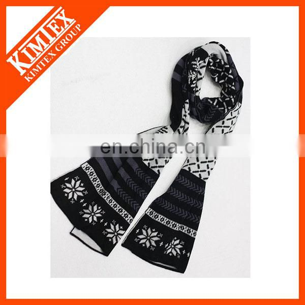 Wholesale custom knitted sports jacquard acrylic football scarf