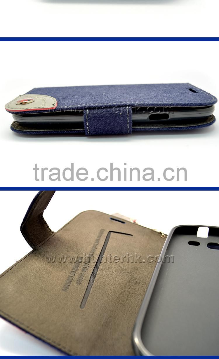 Fabric Skin Cover Book Case For Samsung S3 I9300