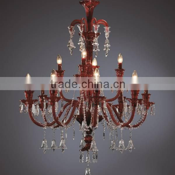 small red murano glass bubble crystal elegant chandelier