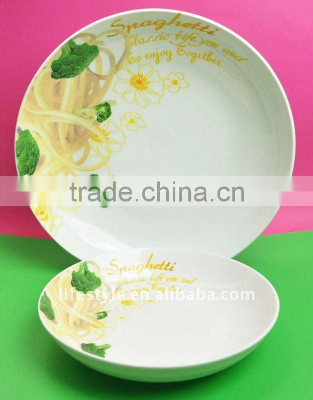 Fresh Round Green Decaled Porcelain Pasta Bowls