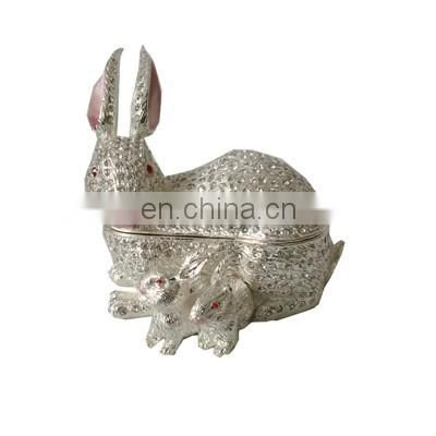 rabbit design pewter made enamel slivery jewelry box