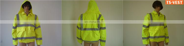 Traffic Safety Reflective Safety Clothing Reflective Polyester Waterproof Winter Rain Jacket