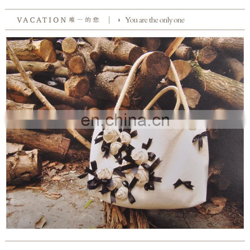 China wholesale beach bag with nature cotton fabric