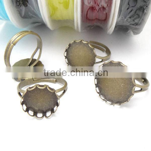 10/12/14/16/18/20mm Cheapest Price Brass Bronze Vintage Lace Ring Bezels Base Setting Tray