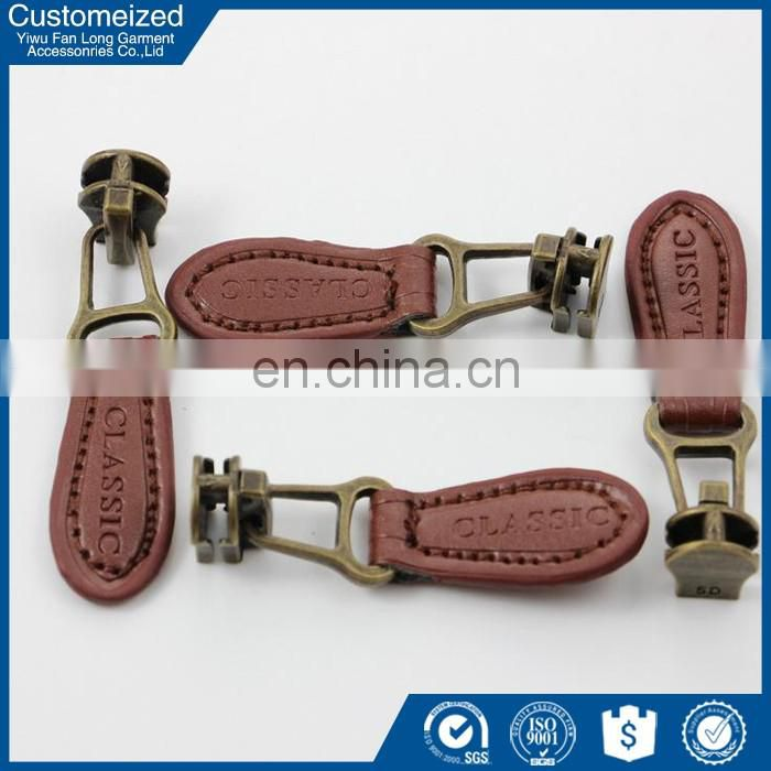 Cheap price leather zipper puller custom leather zipper head