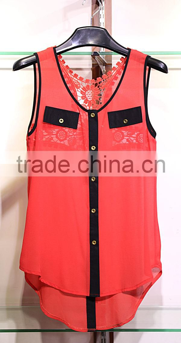 red and black see-through back lace chiffon tank tops