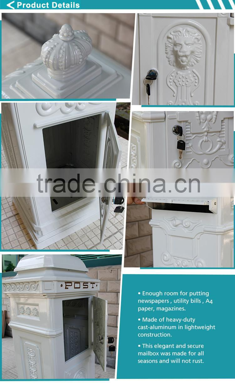 The Most Popular Style In Europe Crown Ornament Cast Aluminum Fence Outside Vintage Letter Box Mailbox For Sale From China