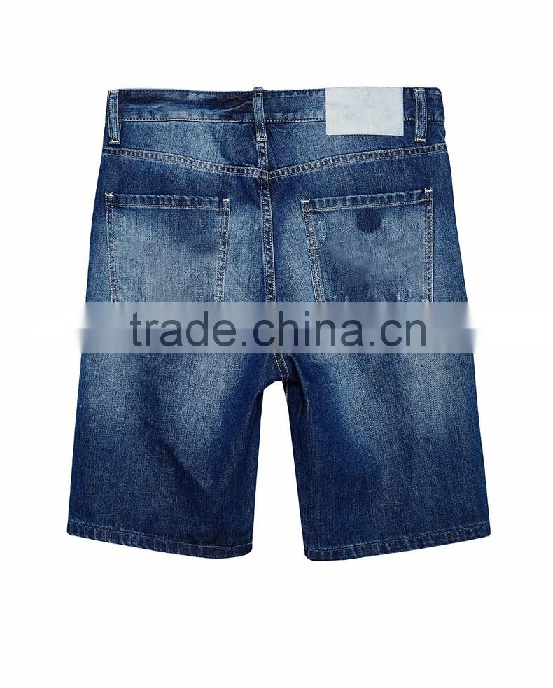 jeans factory guangzhou funky jeans for men New model men straight ripped patch denim jeans shorts half pants