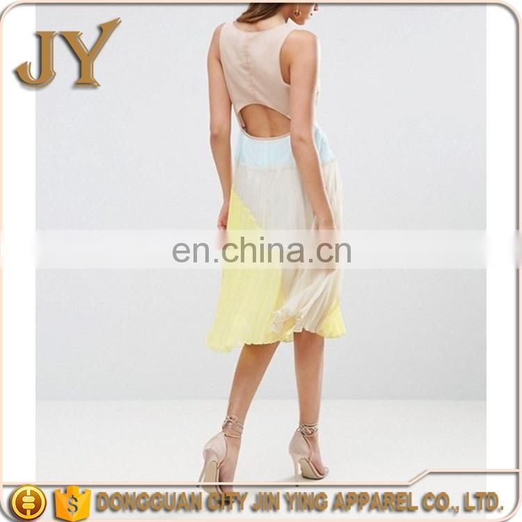 Ladies Summer Pleated Midi Colourful Dresses with Cut Out Back Design Custom Logo Dongguan Wholesaler JY-3AB001