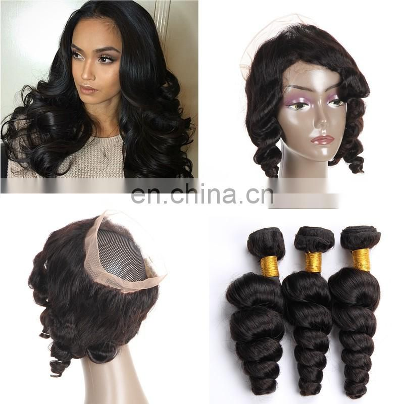 New arrival virgin straight human Hair 360 lace frontal closure with bundles