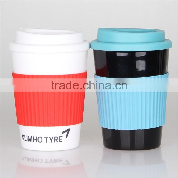 Mlife cheap promotion gifts 12oz 350ml single wall pp plastic coffee mug hot drink cup with silicone soft lid and holder