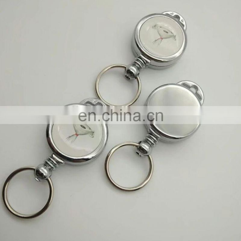 circular chrome plated steel badge reel retractable ID holder