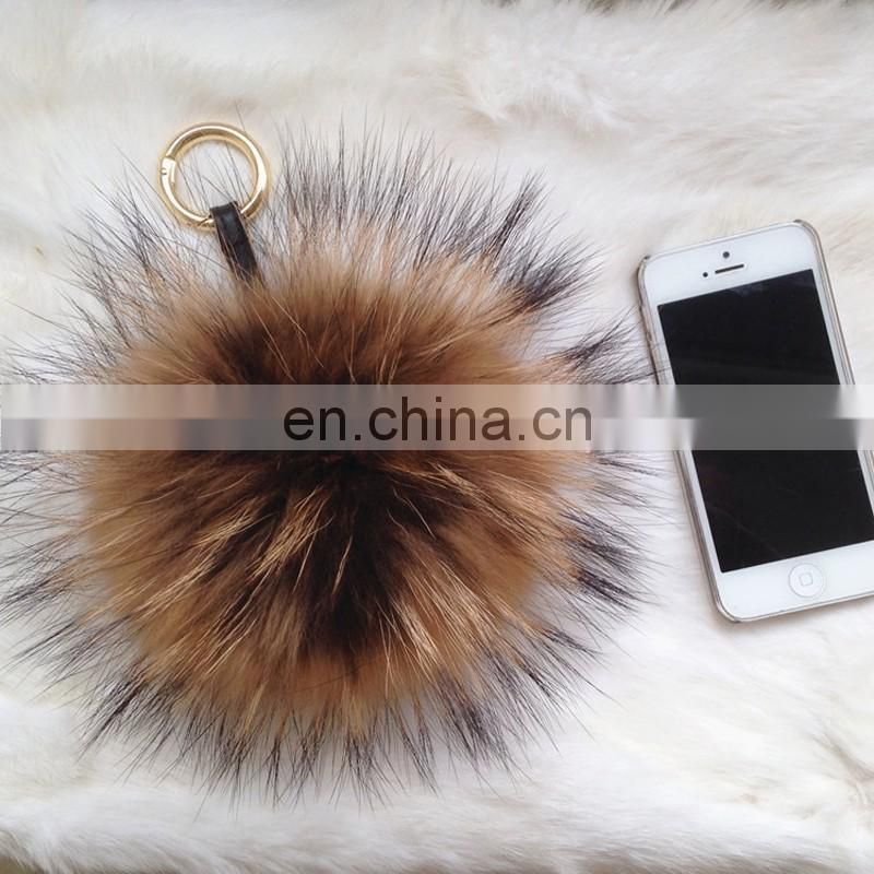 Full around hand made raccoon fur ball key ring genuine fur ball car ring