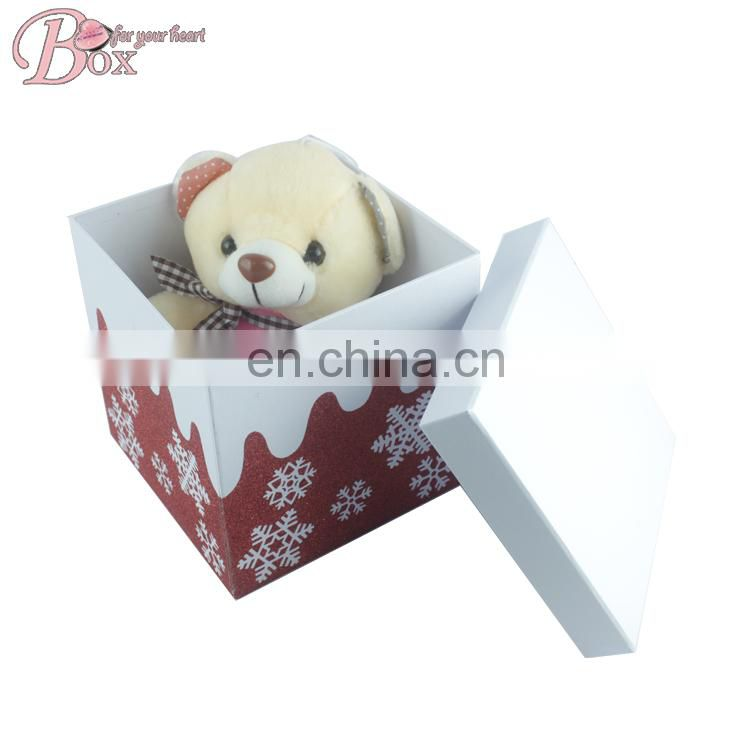 Custom Small Christmas Snow Printing Paper Gift Box with Ribbon