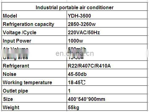 Hot Sale 10000 BTU Industry Portable Air Conditioner Outdoor and indoor Air Cooler in tent