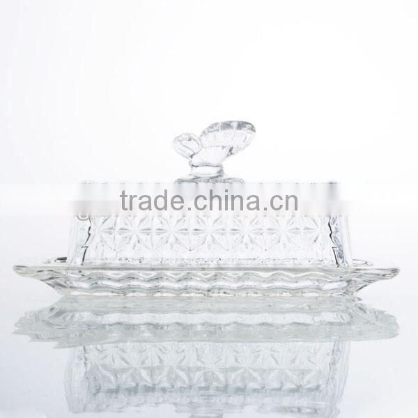 Glass Cover and Ceramic Butter Serving Tray Set