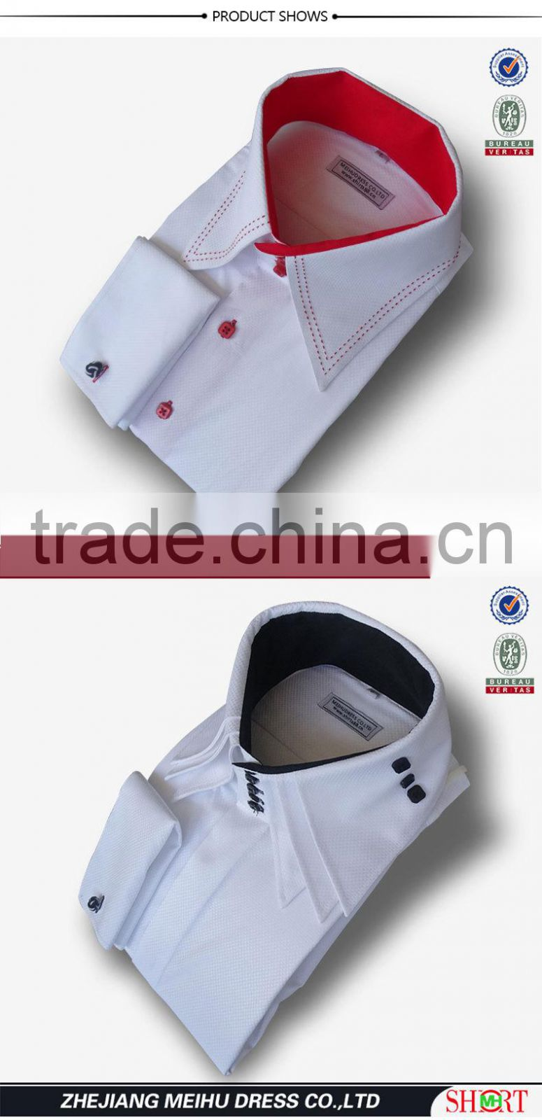2017 Mens 100 Cotton Luxury Dress Formal White Solid Roll Collar