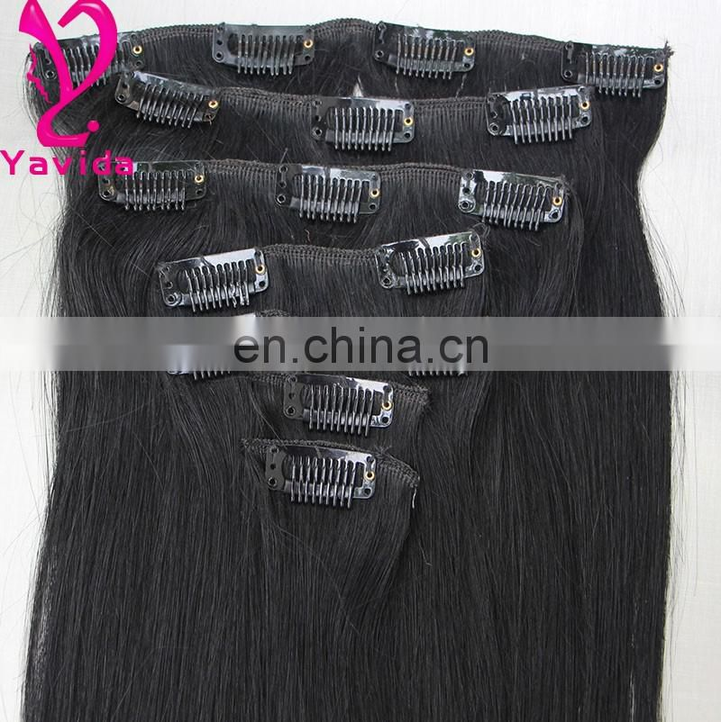 "High quality 14""-30"" Full Head clip in human hair extensions clips hair extension human virgin hair clip in extension"