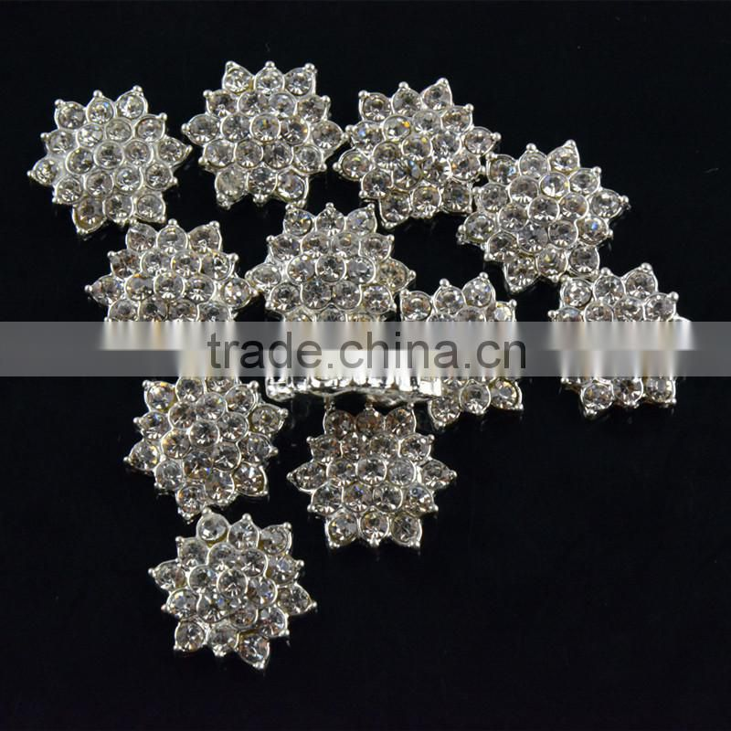 17MM Wholesales Bulk Cheap Silver Plated Alloy Snowflake Crystal Rhinestone Button For Baby Girl Jewelry Garment Accessory