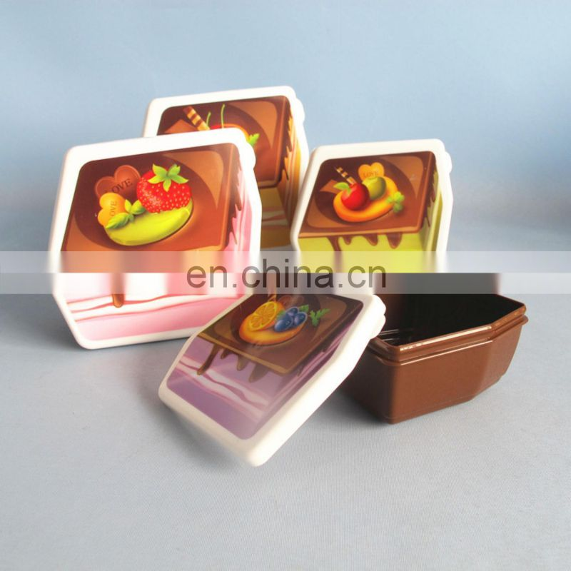 2014 new design cake shaped plastic food container