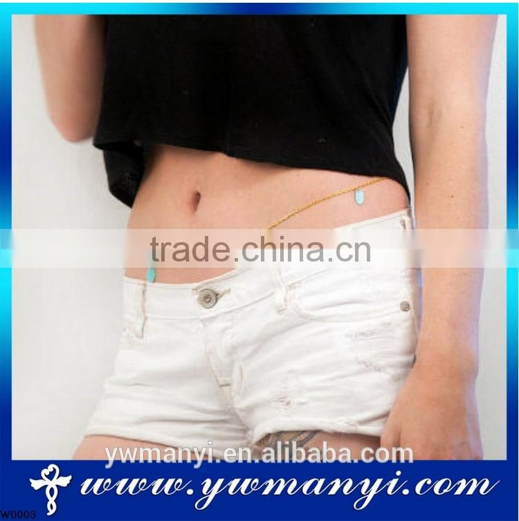 2016 hotsale and latest design body chain turquoise nutural belly chain jewelry W0006