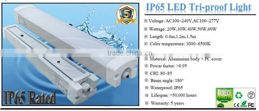 waterproof dustproof IP65 led tri-proof light for industry outdoor lighting with sensor and dimmer