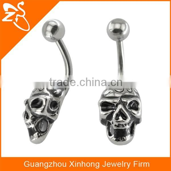Wholesale Dangling Vintage Casted Skull Navel Sexy Body Piercing Jewelry Belly Button Ring
