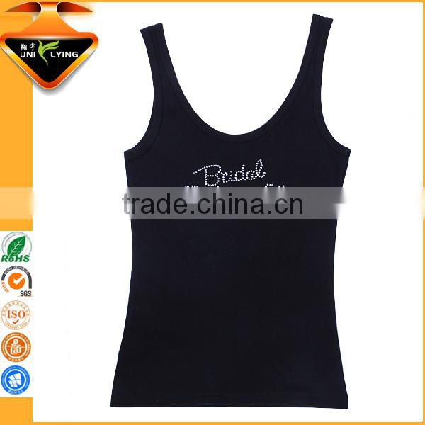 Wholesale Wedding Party Rhinestone Bride Designs Tank Top Cotton Slim Tank Top Wholesaler