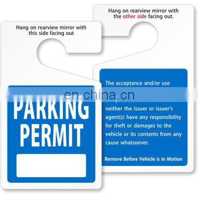 Rearview hanging card for temporary visitor parking