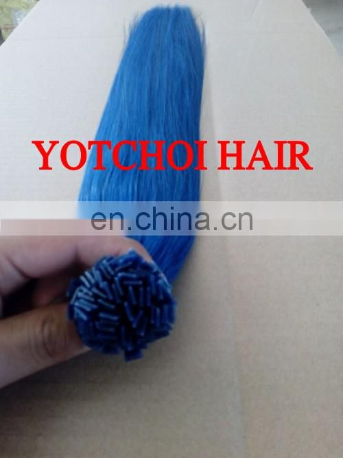 Fashion Color Water Green Hair Products,Flat Tip Hair Extension 1G/Strand